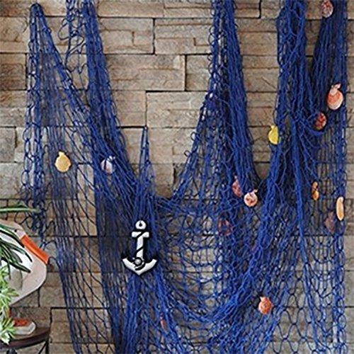 Milopon Fischernetz Maritime Dekoration Fischerei dekorative Netz mit Muscheln zum Aufhängen Deko Wandverzierung für Hausesdekoration Party (Blau)