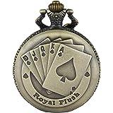 JewelryWe Reloj de Bolsillo Bronce Poker Royal Flush, Reloj de Bolsillo Cuarzo para Hombre Mujer con Cadena Larga de 80CM, Sa