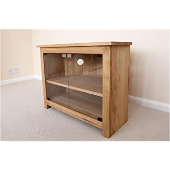 Really Good Somerset Range Oak Corner Tv Unit Glass Doors Stand