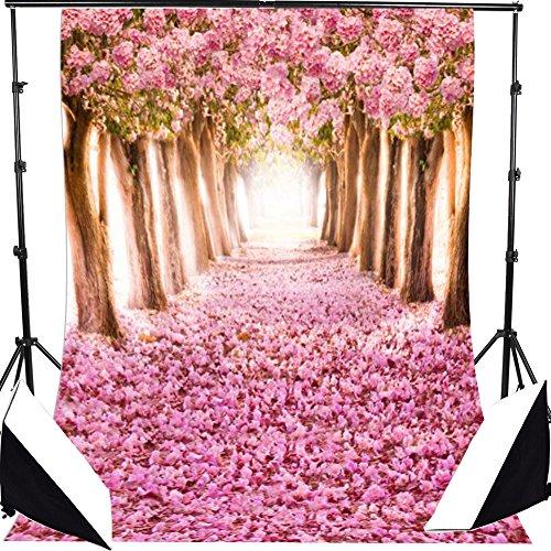 AFUT 1.5×2.1M Romantische pink Blume Baum Straße Kulisse Bildhintergrund Backdrops Hintergrund Foto Props für Fotografie Studio (Hintergrund Schwarzem Studio)