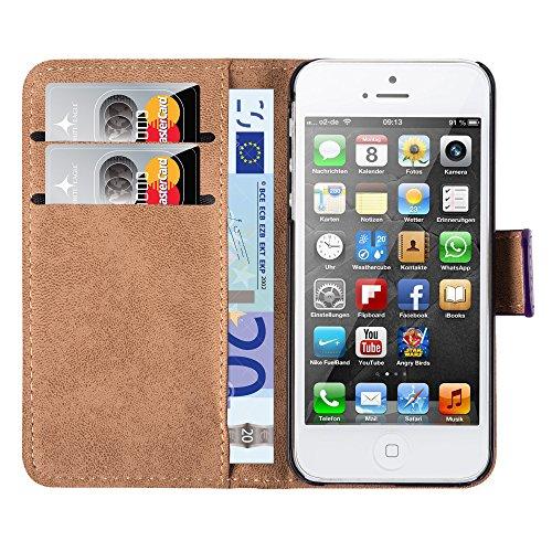 HANDYPELLE® Tasche für Apple iPhone SE / 5 / 5s im Bookstyle in Schwarz Lila