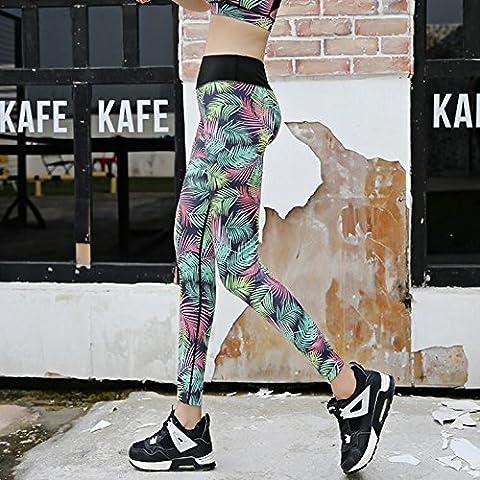 MaMaison007 Las mujeres polainas impresas digitales alta elasticidad deporte Yoga lápiz Pantalones Leggings Casual-2 L