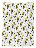 Nappe Décoration vintage rétro Flash Electric icônes avec des lignes à carreaux Funky météo Batman Boom Pop Art Comic salle à manger de cuisine rectangulaire Housse de table Blanc Jaune, Multy, 42W x 60L Inches...