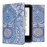 kwmobile Cover per Tolino Vision 1 / 2 / 3 / 4 HD - Custodia a libro per eReader - Copertina protettiva libro flip case Protezione per e-book reader Design Oriente blu bianco