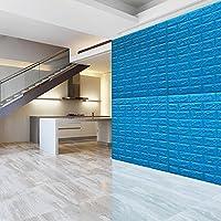Ladrillo Pegatinas de pared, Los paneles de pared autoadhesivos de la espuma del PE 3D calcomanías de azulejos para la sala de estar del dormitorio TV fondo de sofá Decoración de bricolaje, 70 X 77 cm (8 Pack, 4.2 sqm) (Azul)