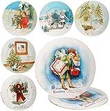 4 Stück _ große Teller Kinder & Weihnachtsmotive  - Ø 33 cm - Unterteller / Platzteller / Plätzchenteller - Keksteller - Weihnachtsbaum - We..
