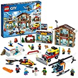 LEGO 60203 City Ski Resort with Helicopter, Snowplow Truck, Snowmobile and 2 Buildings, Winter Set
