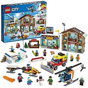 LEGO CityTown StazioneSciistica con Elicottero, Spazzaneve Mobile,Motoslitta e 2 Edifici, Set Invernale, 60203 5702016595451 LEGO