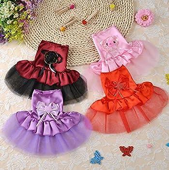 BANCN Adorable Vêtements pour Animaux de Compagnie Robe de Mariée Tutu Chaton Chiot Chien Vêtements Rouge XXS