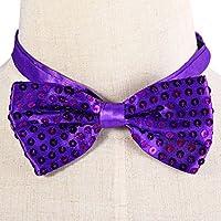 Toyvian Paillette Bow Tie Bowknot para el Baile Hip-Pop de Performance de Navidad (Púrpura)