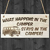 RED OCEAN Happens Stays In The Camper Novelty VW Campervan, Wood, 20 x 0.6 x 10 cm