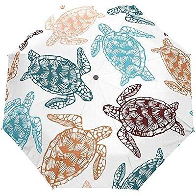 Océano Tortuga Marina Tortuga Animal acuático Auto Paraguas Abierto Sol Lluvia Paraguas Anti UV Plegable Paraguas automático Compacto