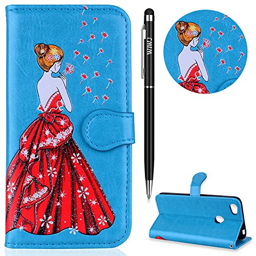 Xiaomi Redmi Note 5A Hülle,WIWJ Wallet Case[Glitter geprägtes schönes Mädchen Handy Shell] Bling Schutzhüllen für Xiaomi Redmi Note 5A/Xiaomi Redmi Note 5A Prime-Blau