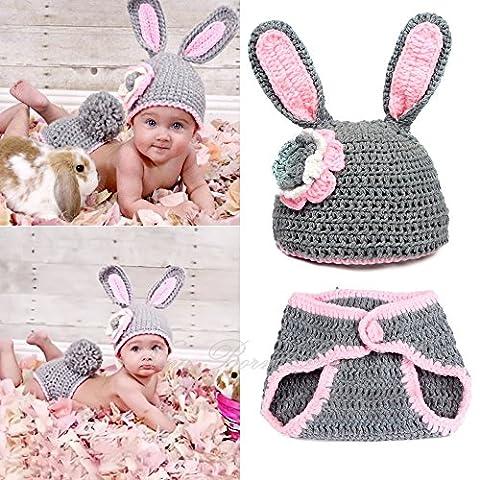 Sunfire Baby Newbron Cute Cartoon Kaninchen Stil Infant Neugeborene Mädchen Jungen Crochet Beanie Hut Kleidung Baby Foto Props