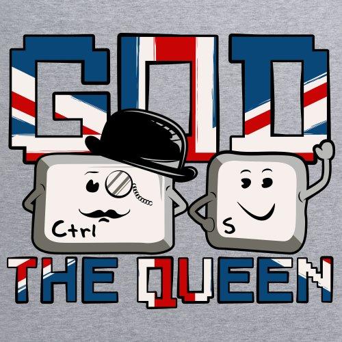 God Save The Queen T-Shirt, Herren Grau Meliert