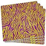 Old Glory Mardi Gras Cajun Tiger Kostüm Satz von 4 quadratischen Sandstein-Achterbahnen Multi Standard eine Größe