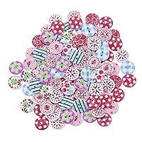 Profusion Circle 100pcs Mix Wooden Buttons 2 Holes DIY Sewing Craft Scrapbook (#1)