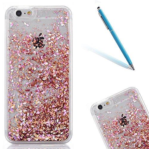 """iPhone 5s Hülle, [Kristallklar Durchsichtig] Handytasche CLTPY iPhone SE Glanz Sparkle Diamant Sternherz Muster Dynamisch Liquid Hardcase für 4.0"""" Apple iPhone 5/5s/SE + 1 x Griffel - Gold Runde Rosa"""