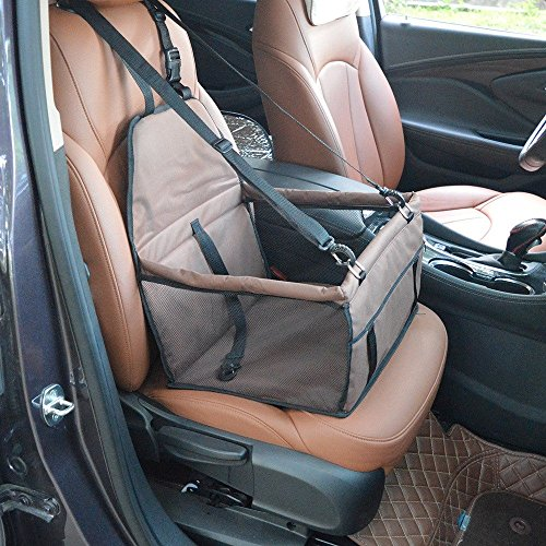 Haustier Auto Booster Seat Pet Car Booster Sitzträger Tragbare Faltbare Haustier Auto Sitzbezug Mit Sicherheitsgurt Haustier Rear Seat Protector Pet Reise Tragetasche (Color : Coffee)