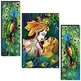 SAF Set of 3 Radha Krishna 6MM MDF self addeshive UV Coated Home Decorative Gift Item 24 inch x 18 inch Painting