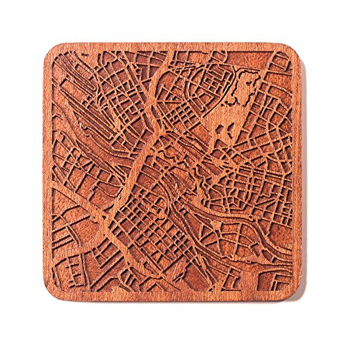 Bremen Stadtplan Untersetzer, One piece, Sapele Wooden Coaster with city map, Multiple city optional, Handmade