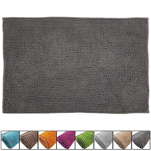 SunDeluxe Chenille Badematte Größen, Badteppich aus Microfaser nach ÖKO TEX Standard 100, Welness Badeteppich/Duschvorleger, Größe:50 x 80 cm, Farbe:Grau