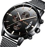 Reloj, Relojes para hombres, Relojes casuales de lujo clásicos de acero inoxidable negro con...