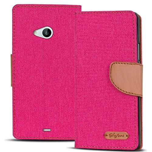 Verco Lumia 535 Hülle, Schutzhülle für Microsoft Lumia 535 Tasche Denim Textil Book Case Flip Case - Klapphülle Pink