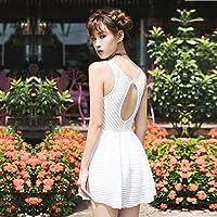 Petite poitrine rassembler la jupe fendue en acier conservateur style hot spring maillot de bain femme