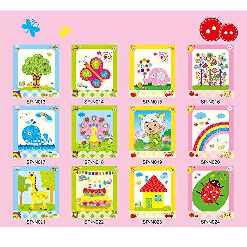 domybest Kinder Kinder DIY 3D EVA-Schaum Spielzeug Early Learning Puzzle Toys Craft Kits Weihnachten Halloween Geschenke Home Kindergarten Decor (Button Sticker) (Halloween Craft Kindergarten)