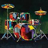 empireposter Milan, Elli & John Drum Set Schlagzeug Kunstdruck Größe 30x30cm