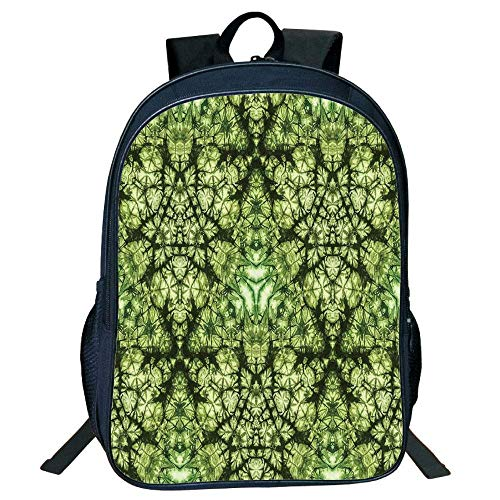 HOJJP Schultasche Suitable for Primary School Backpack,Tie Dye Decor,Free Nature Inspired Mind Bind Folded Color Silhouette Counter Culture Artsy Print,Green,for Kid -