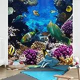 Apalis Vliestapete Underwater Dreams Fototapete Quadrat | Vlies Tapete Wandtapete Wandbild Foto 3D Fototapete für Schlafzimmer Wohnzimmer Küche | Größe: 240x240 cm, blau, 98110