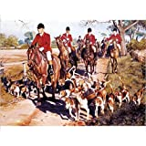 Photographic Print of Fox hunting - riders and their dogs