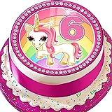 Vorgeschnittene Glasurplatte als Kuchenaufsatz (Topper) – essbare Dekoration in Rundform mit 19 cm Durchmesser zum 6. Geburtstag, mit pinkfarbenem Einhorn-Motiv ULP06