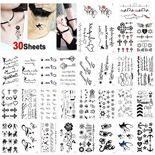 Wasserdichtes schwarz Temporäre Tattoos Kleine Körperkunst Aufkleber Arm Tattoos für männer Frauen Handhals Handgelenk (30 Blätter) ()