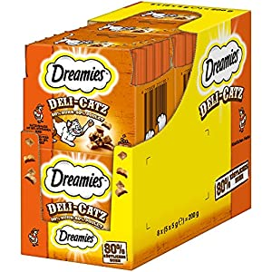 Dreamies Katzensnacks/Klassiker DeliCatz Huhn, 8 Beutel (8 x 25 g)