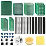76tlg Lochrasterplatine Kit mit 5 Größe 23x Doppelseitig Platine, Stecker- und Buchsenleiste, Schraubklemmenblock, Lötzinn, Lötfett Super set für DIY