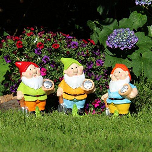 Solar Gartenzwerg klassisch 22cm mit Solarlampe Gartendeko Garten-Figur - 4