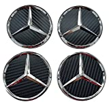 4Nabenkappen mit Logo Mercedes, 75mm,für Alufelgen, aus Carbonfaser, Schwarz