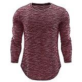 Honestyi Herren Langarm Shirt Longsleeve Slim Fit Shirt Leicht Oversize Basic Sweatshirt in Vielen Farben O-Ansatz der Art und Weisepersönlichkeits beiläufige dünne Lange Hülsen Hemd Spitzen Bluse