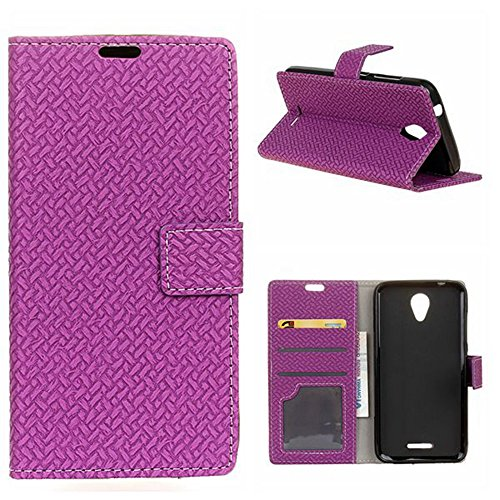 YHUISEN ZTE A310 Case, Weave Pattern Magnetische Verschluss PU Leder Geldbörse Flip Folio Schutzhülle für ZTE Blade A310 ( Color : Blue ) Purple