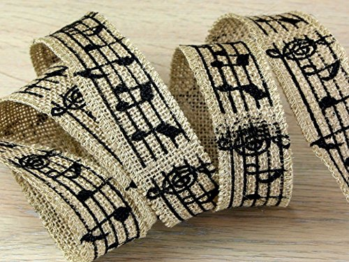 Minerva Crafts 38 mm Noten Print Sackleinen Jute Ribbon Schwarz & Beige - Meterware (Craft Ribbon Sackleinen)
