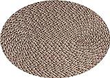 Tischset Platzmatte rund oder oval Natur meliert geflochten Mandala ca 45x30, Form:Oval