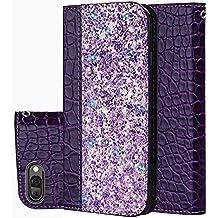 Slynmax HUAWEI Honor 10 - Funda para teléfono móvil (piel sintética, cierre magnético, con ventosa), diseño de cocodrilo, Bright Purple