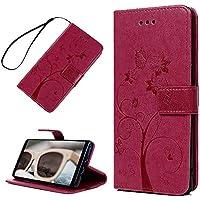 Funda para Samsung Galaxy Note 8 Carcasa Libro de Suave Cuero Impresión PU Premium - YOKIRIN Carcasa Con TPU Silicona Case Interna Suave,Soporte Plegable,Ranuras para Tarjetas y Billetera,Cierre Magnético - Diseño de Árbol de la hormiga, Rosa roja