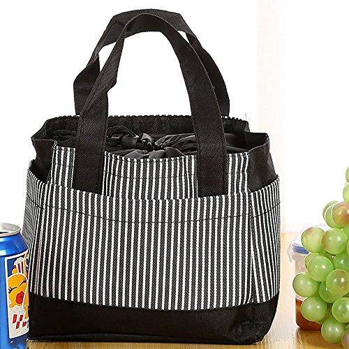 Gaddrt Portable isolato termico lunch box, isolato freddo canvas Stripe picnic Carry case Nero