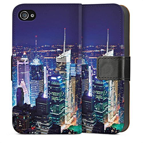 Apple iPhone 5s Housse Étui Protection Coque Ville Horizon Grande ville Sideflip Sac