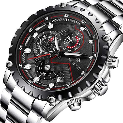 WISHDOIT Herren Freizeit Wasserdicht Sport Chronograph Analog Quarz Uhr mit Mode Silber Edelstahl Armband 9821A