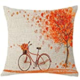 TianranRT Glücklich Herbst Baum Ahorn Blatt Fahrrad Kissen Abdeckung Decorative18x18inchs